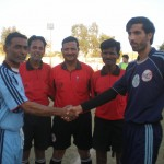 Captain of Baloch Mujahid and Young Ansari shake hand before match