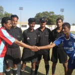 Captains of Kalri and Gulshan shake hands before match