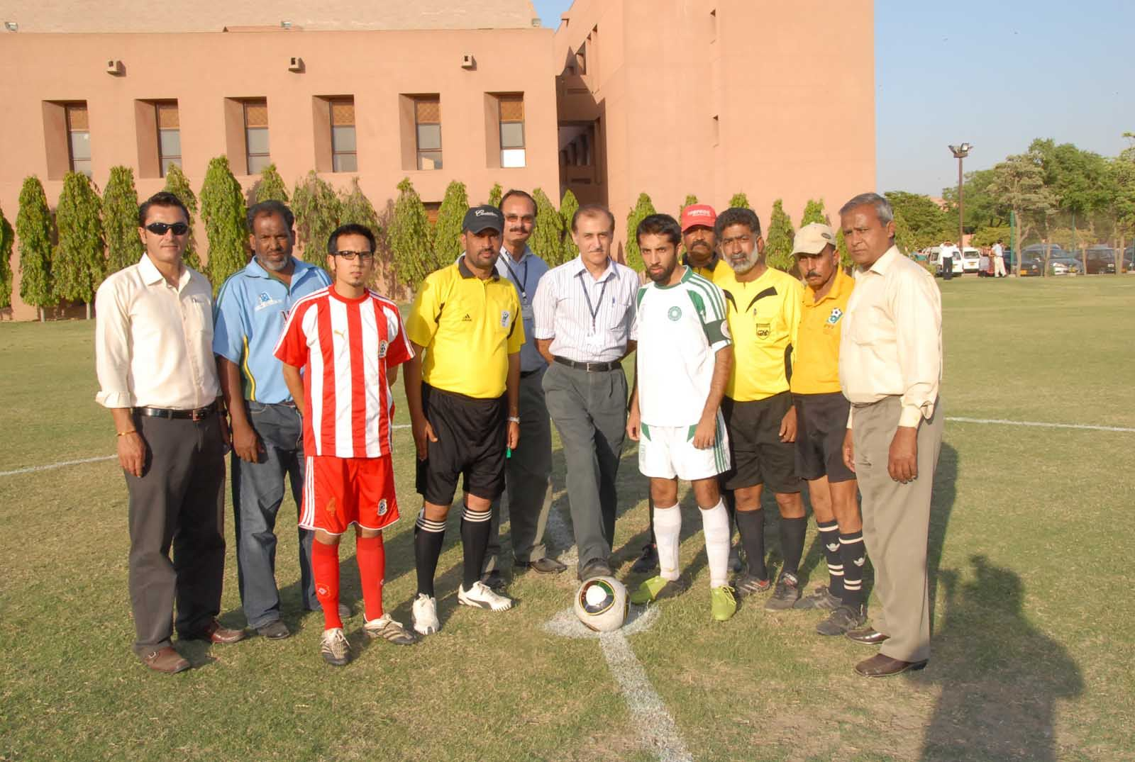 Dr K.M. Inam Pal inaugurates tournament before first game between AKU and IBA-Reserves