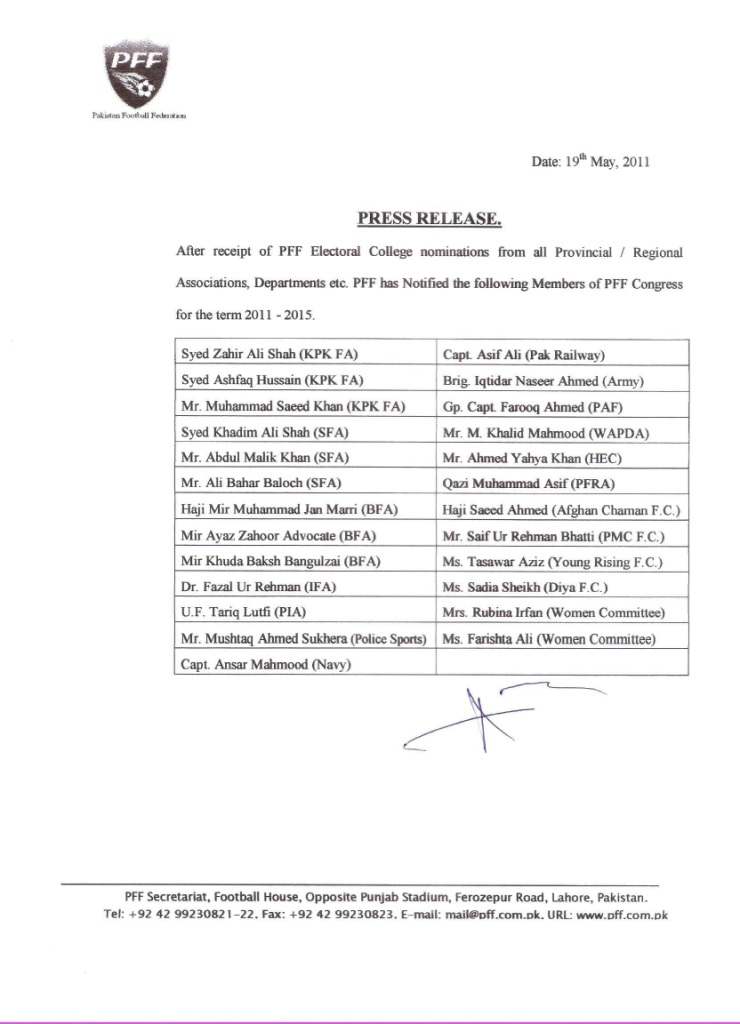 PFF Congress Members 2011-15