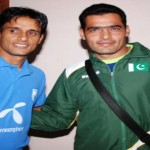 Bangladesh captain Biplab with Pakistan captain Jaffar Khan before match
