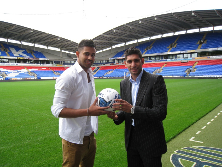 Amir Khan, British-Pakistani boxing champion, with Jaz Dhami, British-Indian music artist, at Bolton Wanderers (promo)