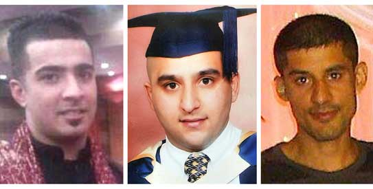 In this combo image of undated photographs provided by family on Wednesday, Aug. 10, 2011, from left, Haroon Jahan, Shazad Ali and Abdul Musavir who were killed when a car crashed into them on Tuesday, Aug. 9, 2011. – Photo by AP
