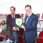 PFF General Secretary Ahmed Yar Lodhi presents shield to Brazilian Ambassador to Pakistan, Mr Alfredo Leoni at National Women Championship 2011
