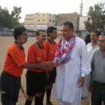 Fateh Muhammad Baloch meets referees at KUFL 2011-12 opening game