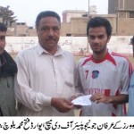 Irfan Junejo (FC Rovers) gets MOTM award from Fateh Mohammad Baloch