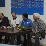 KRL captain Samar Ishaq, coach Tariq Lutfi, manager Ayaz Butt with Sardar Naveed Haider at press conference