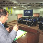 General Secretary PFF, Lt. Col. (R) Ahmed Yar Khan Lodhi addressing on the occassion of FIFA Women Technical Course at PFF House, Lahore