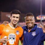 Kaleemullah (left) with Tulsa Roughnecks FC teammate Henri Manhebo