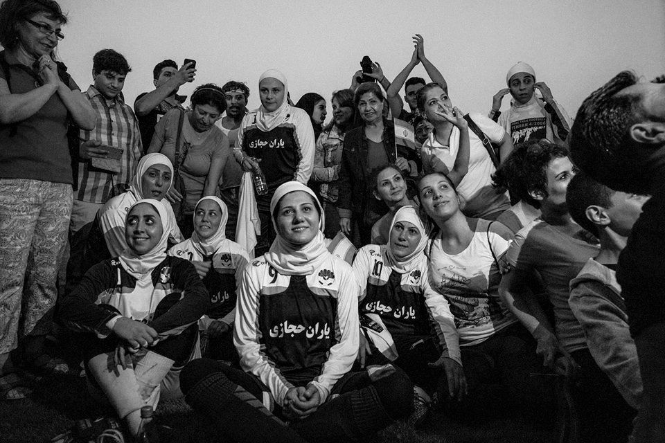 Iranian female football team with fans in Germany