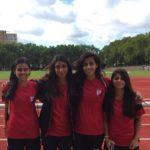 Karachi United girls in Germany LtoR Khadija Kazmi, Marina Marri, Sarah Ali, Nina Zehri