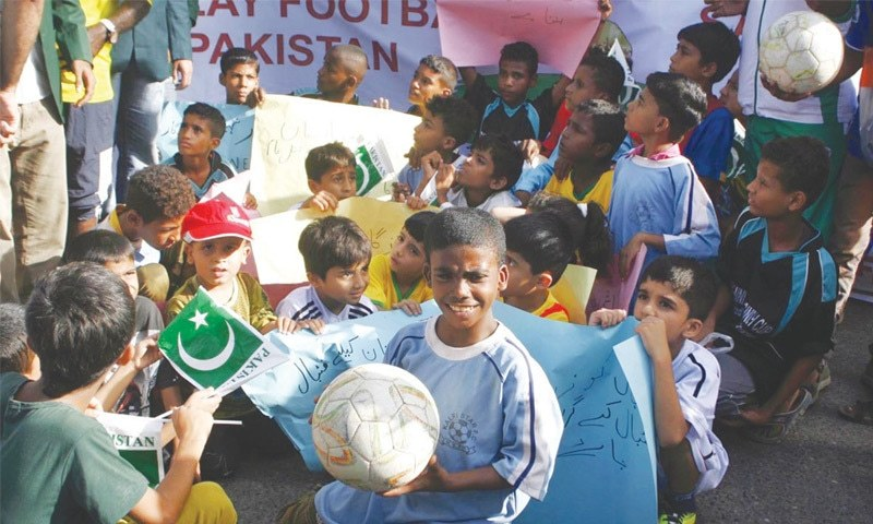 Lyari kids accompanied a handful of players in KPC protest to make up the numbers