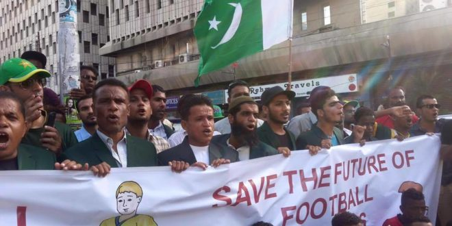 Footballers stage protest, demand restoration of FIFA-recognised PFF [The News]