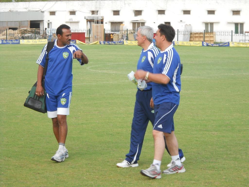 coach Zavisa with assistant Nasir Ismail and physio Kamran Mehdi