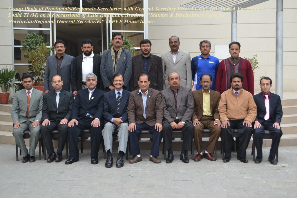 Group Photo of Provincial and Regional General Secretaries with Genral Secretary of PFF
