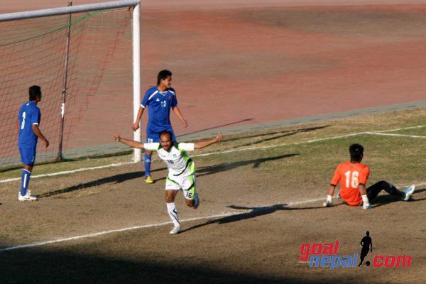 Muhammad Mujahid (PAF) scores against Nepal in 2nd friendly 08.02.2013 courtesy Nirmal Lama GoalNepal.Com