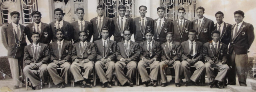 Pakistan National Team from 1950s - Qayyum Changezi  sitting R to L at 6 number