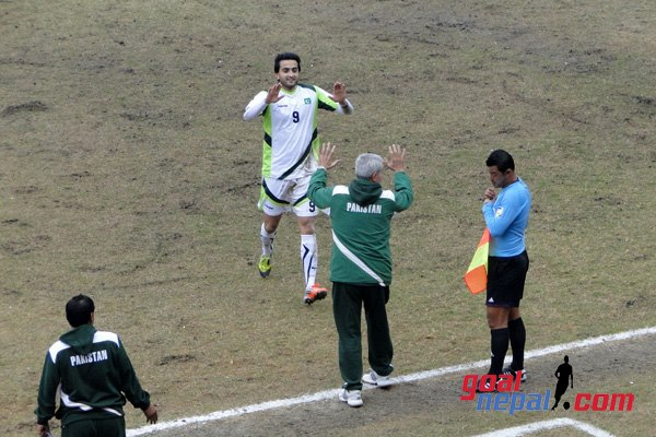 Hassan celebrates his first goal for Pakistan.