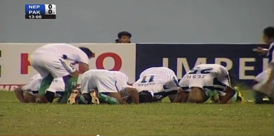 Hassan's famous 'Sajdah' celebration against Nepal in the 2013 SAFF Championship.