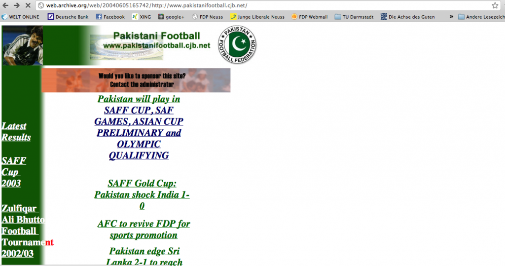 The first version of FootballPakistan launched by Malik Riaz in 2001.