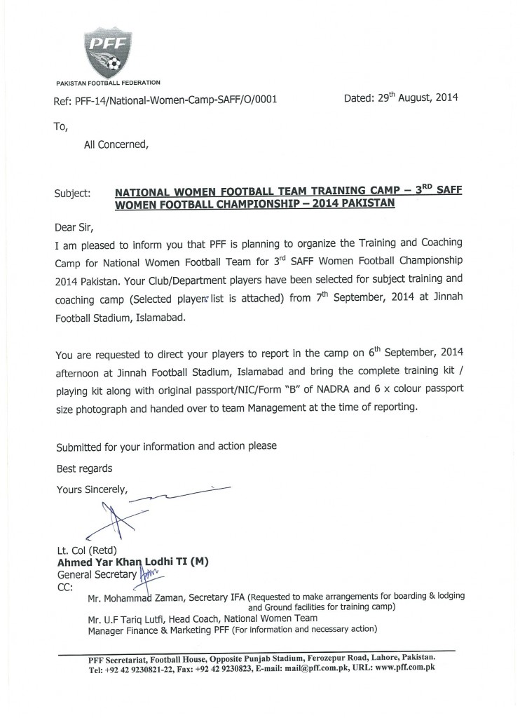 National Women Football Team Camp for 3rd SAFF Championship 2014