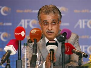 New AFC President Sheikh Salman speaks during a news conference during an AFC Extraordinary Congress in Kuala Lumpur