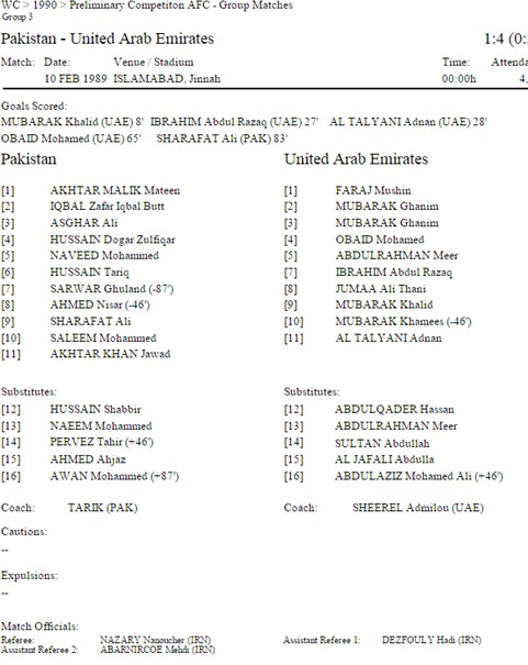 Pakistan's line-up for the UAE game.