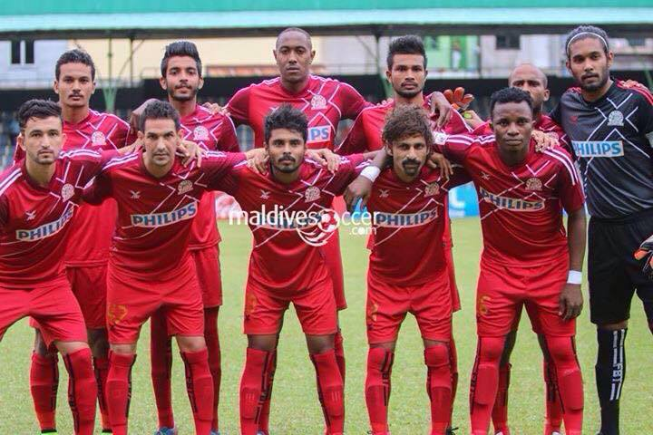 Saadullah (Far left, 1st row) with his club team. Picture Credit: Maldives Soccer.