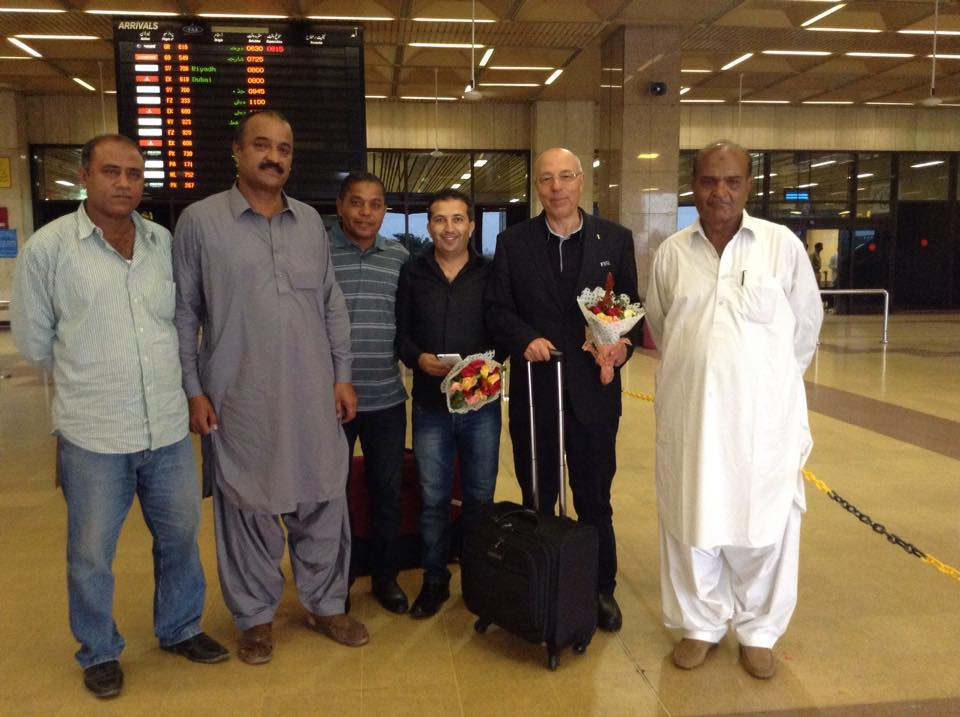 FIFA officers inspecting Quetta Abbottabad Goal Projects received at Karachi airport