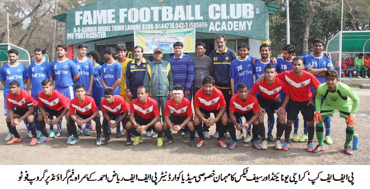 Karachi United vs Saif Textiles with chief guest Riaz Ahmed