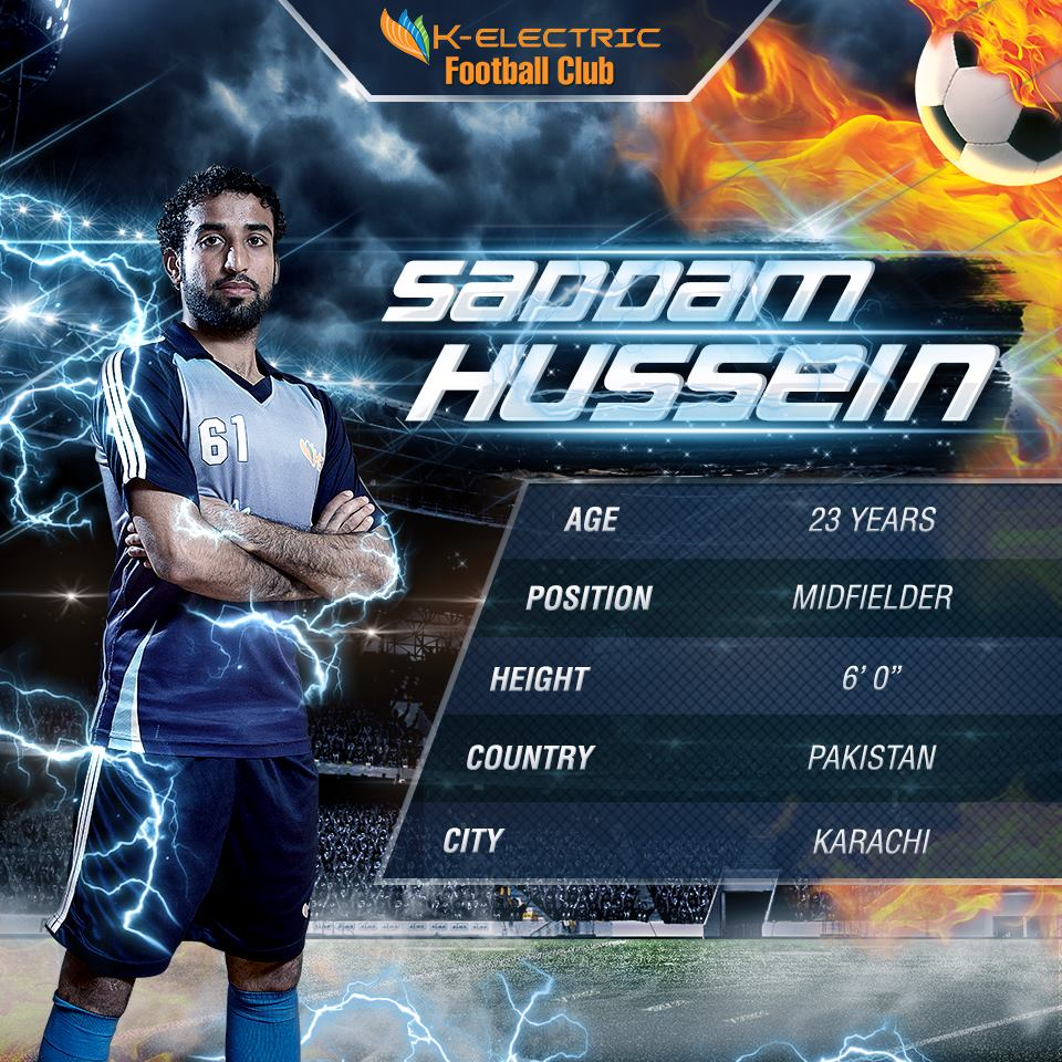 Saddam Hussain (K-Electric profile for 2016 AFC Cup playoff)
