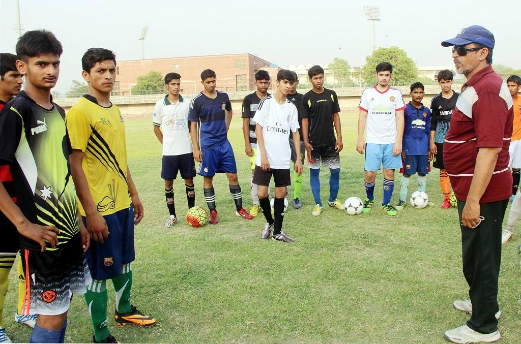 Sports Board Punjab U17 football trials under Tahir Mehmood
