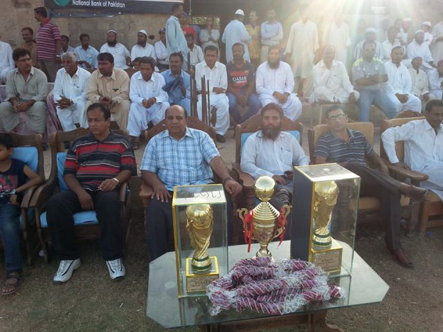 guests and trophies at NBP All-Pakistan Dr Muhammad Ali Shah Football 2016 final