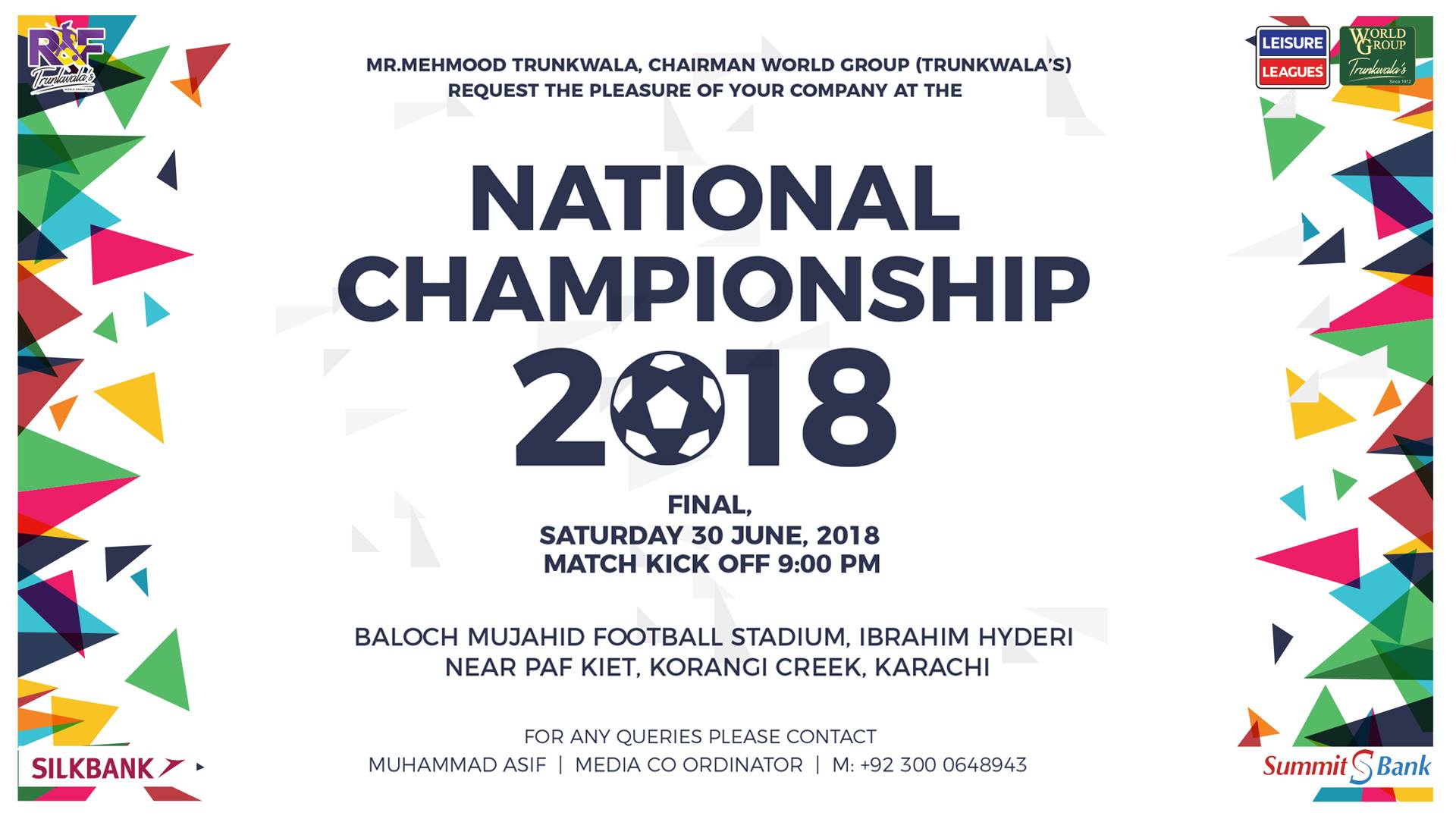 Leisure Leagues National Football Championship from June 28 [The News]